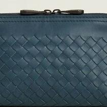 Bottega Veneta Blue Leather Intrecciato 2-Way Zipper Clutch Bag Nwt Authent 520 Photo