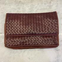 Bottega Veneta Burgundy Red Woven Leather Clutch Handbag Small 7 X 11 Guc Photo