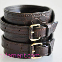 Bottega Veneta Dark Brown Croc-Embossed Leather Buckled Cuff Braceletmprs Photo