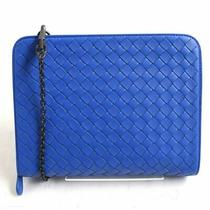 Bottega Veneta Intrecciato Leather 2way Chain Shoulder Bag/clutch Bag Blue Made Photo