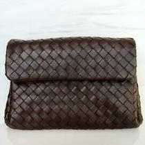 Bottega Veneta Intrecciato Woven Dark Brown Leather Flap Clutch Photo