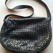 Bottega Veneta Leather Intrecciato Hobo Tote Handbag Black Vintage  Photo