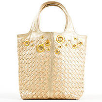 Bottega Veneta Light Gold Leather Metallic Intrecciato Woven Grommet Tote Bag Photo