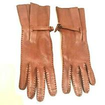 Bottega Veneta Luggage Color Leather Gloves - Size 7 Photo