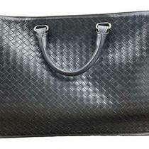 Bottega Veneta Men's Black Leather Intrecciato Briefcase 357310 Photo