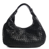 Bottega Veneta Nappa Intrecciato Medium Campana Bag Purse Nero Black Photo