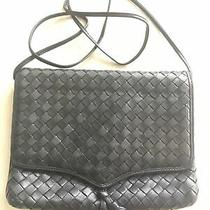 Bottega Veneta Navy Leather Woven Intrecciato Small Crossbody Clutch Handbag  Photo