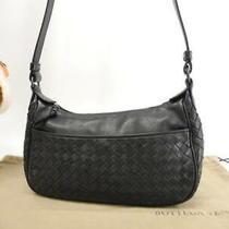Bottega Veneta Pochette Bag Intrecciato Leather Black Slanted Shoulder Photo