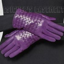 Bottega Veneta Purple 8 Intrecciato Leather Silk Lined Gloves Nwt Authentic 440 Photo