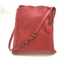 Bottega Veneta  Quilted Red Leather Messenger Hobo 861217 Photo