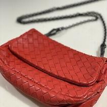 Bottega Veneta Small Red Inrecciato Chain Messenger Bag Photo