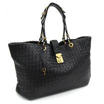 Bottega Veneta Tote Bag Intrecciato 162197 Black Leather Used Shawl Photo
