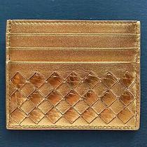 Bottega Veneta Women's Leather Card Case - Real Gold Foil Over Italian Leather - Photo