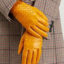 Bottega Veneta Yellow 7.5 Intrecciato Leather Silk Lined Gloves Nwt Authent 440 Photo