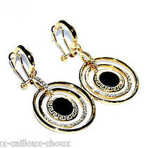 Boucles d'oreilles Bijoux Couleur or Cercles Cristal Blanc Noir Earring (Ro2) Photo