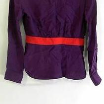 Boulee Misses Womens Long Sleeve Blouse Top Sz 2 Solid Purple Red Auth Designer Photo