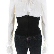Boulee Womens Silk Long Sleeve Key Hole Neck Corset Blouse Black White Size 2 Photo