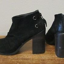 Boutique 9 Black Leather Shale Slouchy Back Zip Ankle Booties Boots Womens 6.5 Photo