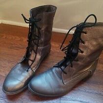 Boutique 9  Lace Up Boots Flat Metalic Peuter Photo