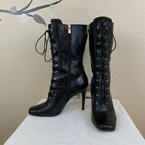 Boutique 9 Leather Corset Lace Up Granny Mid-Calf Boots Black Photo