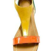 Boutique 9 Orange Green Mustard Yellow Color-Block Patent  T-Strap Sandals 6 Photo