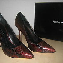 Boutique 9 Shoes Size 6 M Womens New Justine Dark Red Black Leather Pumps Heels Photo