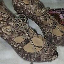 Boutique 9 Snake Print Beige  White  High Heel Pumps Peep Toe  Shoes Size 8.5 M Photo