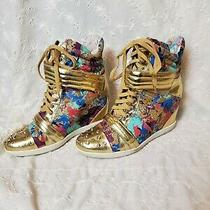 Boutique 9 Wedge Splatter Sneakers 80's Style Lace Up Gold Iridescent Size 9 Photo
