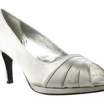 Boutique 9 Womens Silver Peep Toe Heels Size 11 (423714) Photo