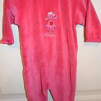 Boutique Baby Lulu Bright Pink Princess Drop Seat Footed Onesie Romper Euc 6 Mo. Photo