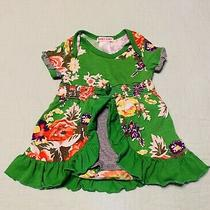 Boutique Baby Nay 9 Months Green Floral Skirted Romper Photo