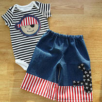 Boutique Custom Boy Pirate Outfit Ready to Ship Sz 6/9  Months New Cutie Pie Photo