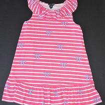 Boutique High End Designer Little Marc Jacobs Pink Blue Stripe Bow Dress 12 Yrs Photo