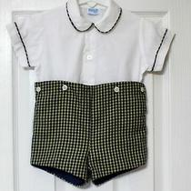 Boutique Luli & Me Solid Tartan 2pc Lined Jon Jon Romper Baby Boy 6-9ms  Photo