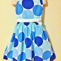 Boutique Mini Boden Spring Blue White Aqua Polka Dot Dotty Dress 5 6 Yr 27