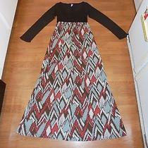 Boutique Pink Blush Brown & Print Maxi Dress Size S Photo