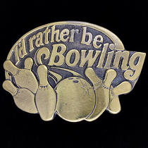 Bowling Bowler Ball Pin Strike League Player 1980s 1984 Nos Vintage Belt Buckle Photo