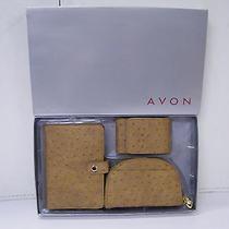 Boxed Avon Wallet Brown Gift Set Ostrich Look Photo