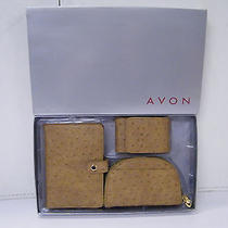 Boxed Avon Wallet Brown Gift Set Ostrich Look Photo
