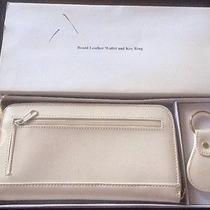 Boxed Avon White / Bone Leather Wallet and Key Ring Set New Photo