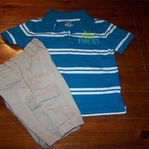 Boy 4 Kidlooks Shorts & Cherokee Aqua Stripe Turtle Collar Tee Shirt Photo