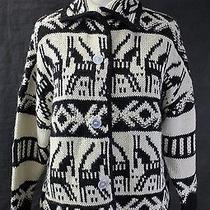 Boy by Band of Outsiders Black & Cream Oxacan Print Alpaca Cardigan Sweater 1 Photo