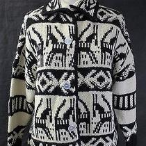 Boy by Band of Outsiders Black & Cream Oxacan Print Alpaca Cardigan Sweater 1 Photo