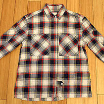 Boy by Band of Outsiders Cropped Boxy Plaid Pocket Shirt Blue Cream Size 0 Photo