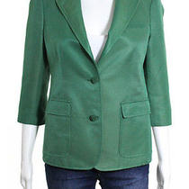 Boy by Band of Outsiders Green Cotton v-Neck 3/4 Sleeve Button Down Blazer Sz 3 Photo