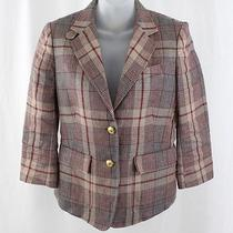 Boy by Band of Outsiders Maroon Beige Plaid Two Button Blazer Jacket Coat Sz 3 Photo