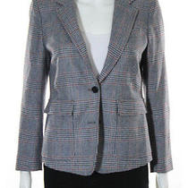 Boy by Band of Outsiders Navy Red Wool Glen Plaid Notched 2 Button Blazer Sz 3 Photo