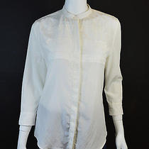 Boy by Band of Outsiders White Collarless Silk/cotton Blouse Sz 2 Photo