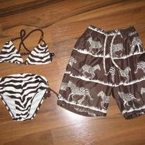 Boy Girl Twin Baby Gap Brown Matching Zebra Swim Bathing Suits Sets 3 3t Cute Photo