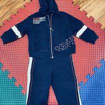 Boy Kids Guess Blue Set Pants & Hoodie Jacket W/zipper 6-9 Months Cotton Photo